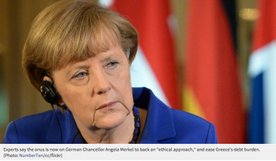 "Experts say the onus is now on German Chancellor Angela Merkel to back an ""ethical approach,"" and ease Greece's debt burden. (Photo: NumberTen/cc/flickr)"