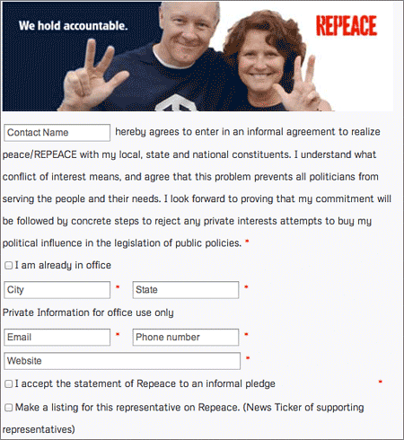 Form to fill out for political representatives (text)