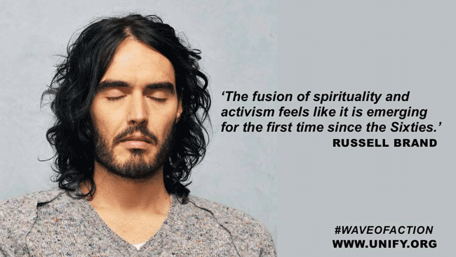 The quote by Russell Brand is a clear reference to the former antiwar movement of the Sixties.