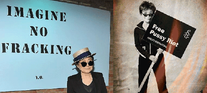 "Iconic peace figure Yoko Ono uses the power of peace to bring about relief for victims of abuse or for the abused land. (according to the Repeace vision, she is ""Repeacing"")"